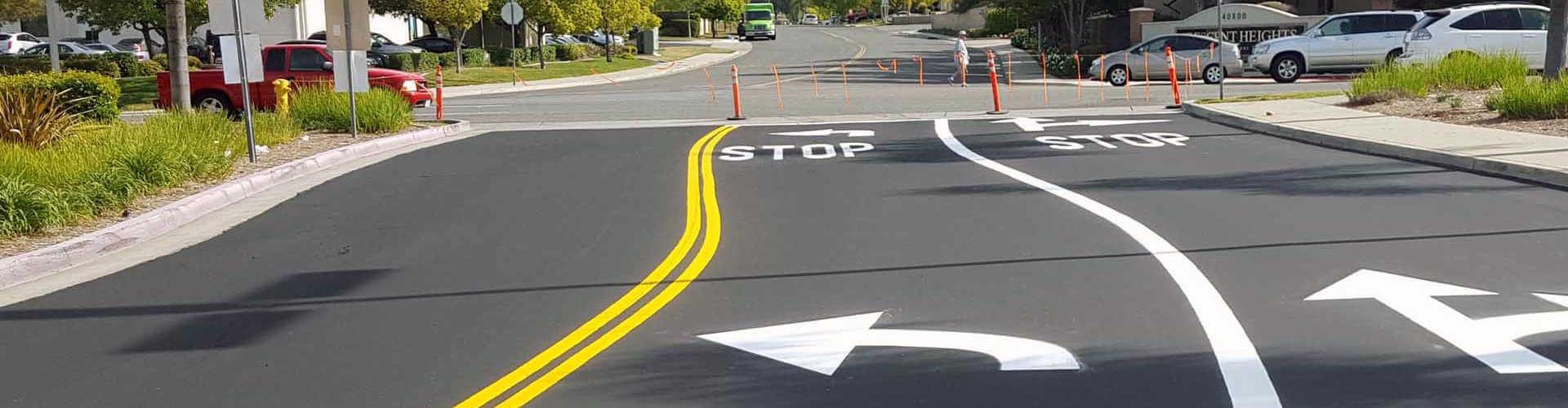 New asphalt road in Southern California