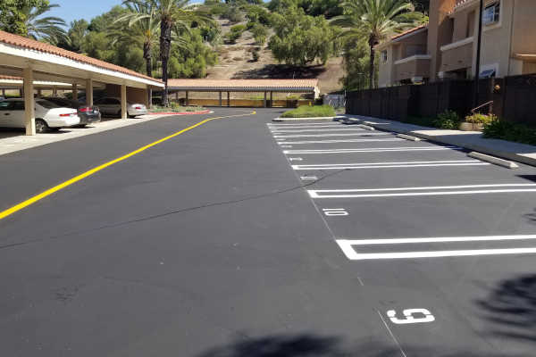 Commercial Parking lot freshly striped