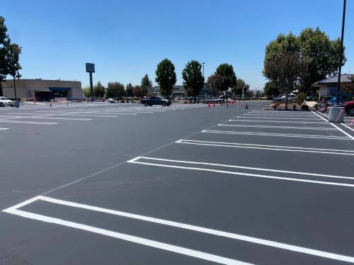 Parking lot in Riverside County with new markings