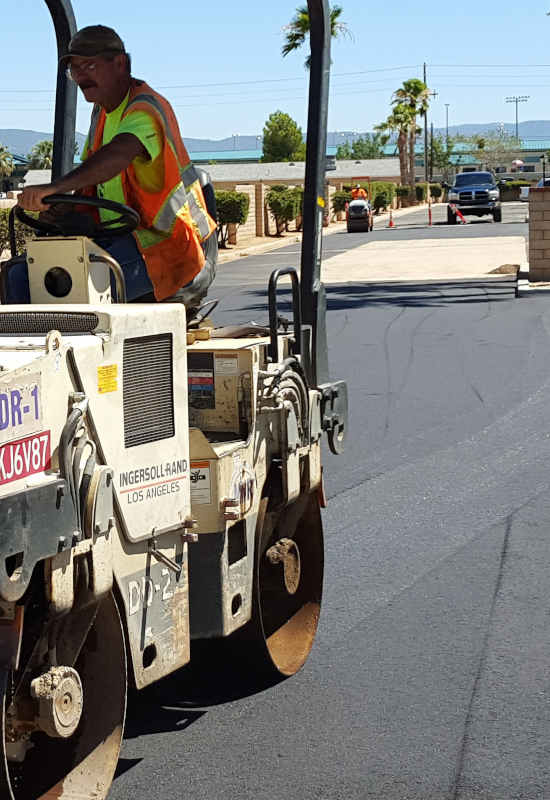 Parking lot being paved in Riverside County