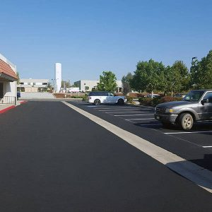 Parking lot with new seal coat in Rancho Cucamonga